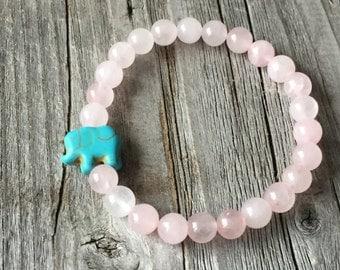 Girl gemstone bracelet, Kids beaded bracelet, girl boho bracelet, Kids gift idea, pink stretch stacking bracelet, Elephant kids bracelet