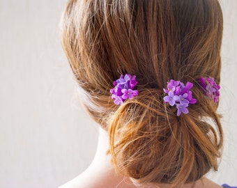 Purple flower hair pin Lilac purple hair flower accessory Purple wedding hair pins set Bridal hair pin Purple lilac hair pin Purple hair pin