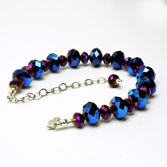 blue and purple sparkly beaded bracelet adjustable by stbridal