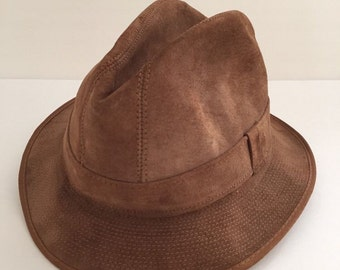 VTG Mens Suede LG Fedora United Hatters & Millinery Workers Union