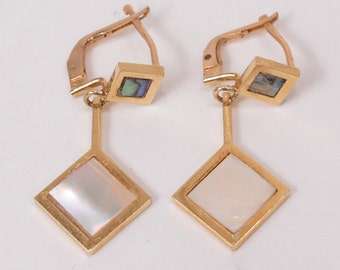 Beautiful Old Vintage 18K Yellow GOLD Earrings with MOTHER of PEARL (6.9g)