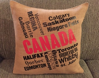 Cities in Canada Burlap Pillow Cover