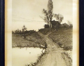 Edward Loyal Field Etching Signed Artist Remarque Proof Impression copyright 1890 Radtke Lauckner & Co NY Landscape Cottage - Pond - Bridge