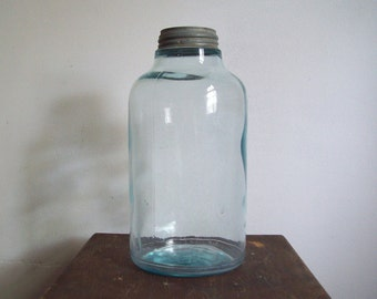 Antique blue canning jar large size unmarked odd jar great storage