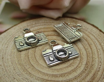 20Pcs 16x14mm Camera Charms Antique Silver Tone-p1535