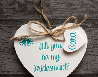 Personalised Wedding Will You Be My Bridesmaid Maid Of Honour Honor Flowergirl Hanging Heart Mr & Mrs