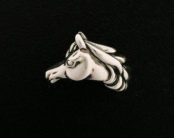 Kabana Equestrian Stallion Horse 925 Sterling Silver Ring Size 8