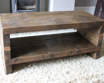 Handcrafted Chunky reclaimed Wooden tv stand/cabinet in walnut wax.
