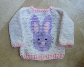 Bunny Love Baby Sweater Crochet Pattern for Boys and Girls (size 0 -12 months)