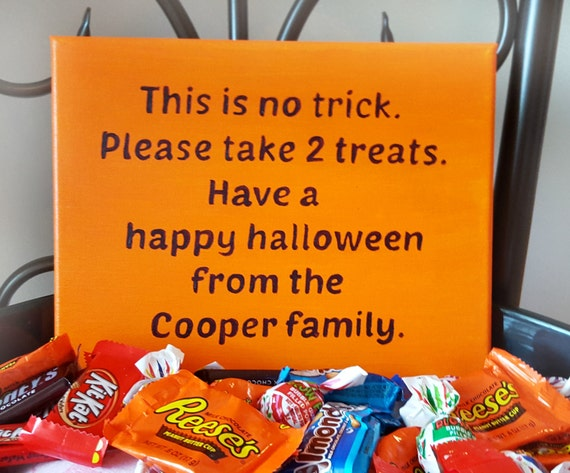 Trick Or Treat Sign Halloween Decorations Halloween Candy
