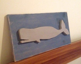 Whale on Distressed Wood