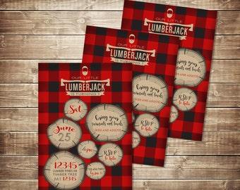 plaid Lumberjack Birthday Invitation - Rustic Invitation - Paul Bunyan Invite - Lumberjack Party Invitation - Plaid Invite - Wood Axe Beard