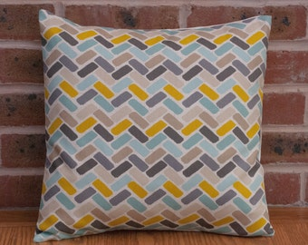 """Grey Green and Yellow Geometric Blocks Paint Effect Cushion Cover 16"""" / 40cm"""