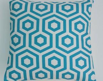 "Bold Azure Blue Hexagon Shapes 16"" / 40cm Geometric  Cushion Cover"