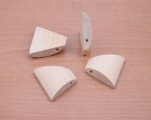 wooden earring,wooden trapezoid,axe shaped wood beads with curved surface and flat side.unfinished wooden beads wholesale