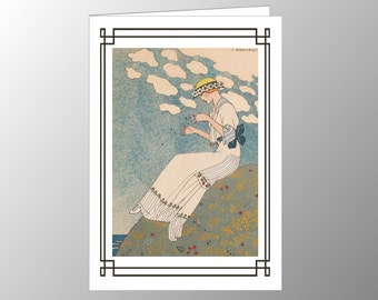 A Handmade Blank Note Card featuring an Art Deco Fashion Plate 'Un Peu' by George Barbier