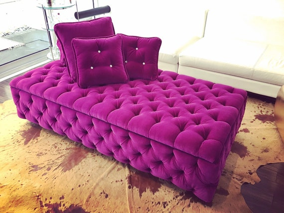 Tufted day bed with storage sofa bench chaise lounge by for Chaise bench storage