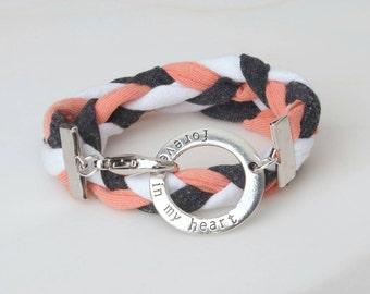 T-shirt Bracelet, Jersey Braided Bracelet, Chunky Braided, Always in my Heart, Double Wrap Bracelet, Colorful Bracelet, Wrap Bracelet