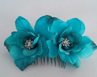 Ready to Ship Hair Flowers-Aqua Hair Accessories-Blue Hair Flowers-Wedding Hair Flowers-Prom Flowers