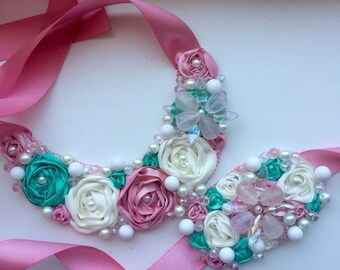 Embroidered necklace and bracelette with satin ribbon and pearls