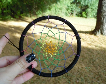 4in Black Dreamcatcher with rainbow weave