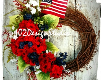 Fourth of July Wreath, Patriotic Floral Wreath, Military Wreath, Red, White, Blue Wreath,Americana Wreath,Summer Wreath,Patriotic Door Decor