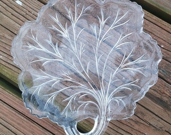 Mid-Century Indiana Glass Cabbage Leaf Dish - Pressed Glass