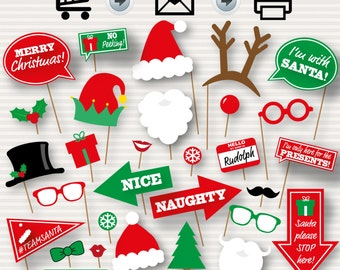 Christmas Photo Booth Printable Props - Christmas Party Photo Booth Props, Santa Hat and Beard, Printable Funny Signs, INSTANT DOWNLOAD