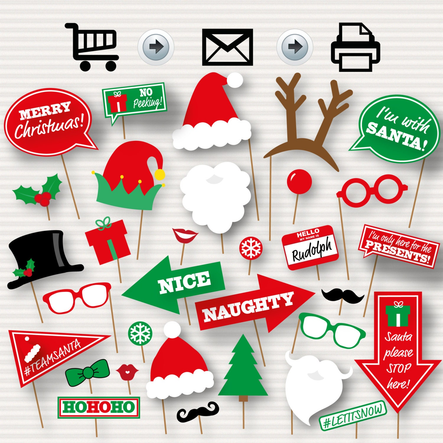 Christmas photo booth printable props party