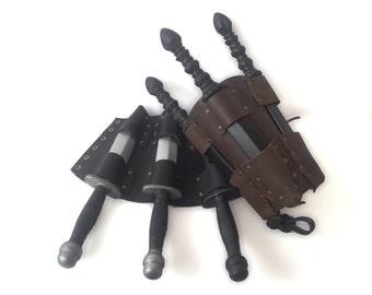 Single Leather Bracer, Holster for 3 LARP Knives, Medieval or Steampunk