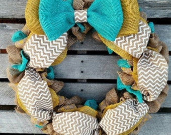 Teal and Yellow Wreath