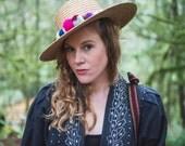 SALE! Beach hat, pom pom hat, sun hat, straw hat, woman's hat, travel accessory, potery bead, beach accessory
