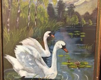 Vintage Swan Print