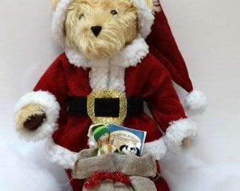 OOAK Artist Santa mohair bear/ Ours d'artiste Père Noël en mohair