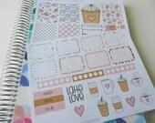 Latte Love - set of 33 stickers perfect for Erin Condren Life Planner, Happy Planner, Kikki K or Filofax Planner