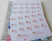 Jolly Santa Countdown - set of 32 stickers perfect for Erin Condren Life Planner, Kikki K or Filofax Planner