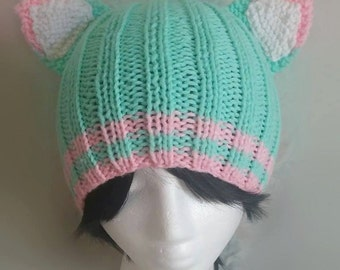 Pastel Green/Pink Cat Hat