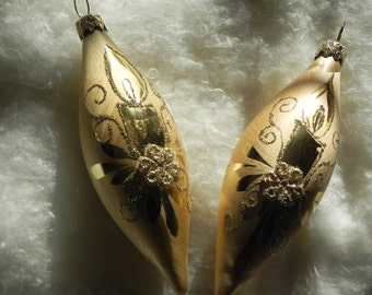 Vintage Gold Glass Candle Ornaments