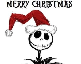Nightmare Before Christmas Jack Skellington Iron on T-Shirt Transfer Image Merry Christmas