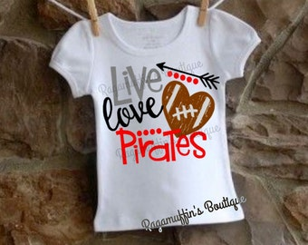 Girls football shirt, Pirates football shirt, football shirt, football season shirt, girls football season shirt, kids game day shirt