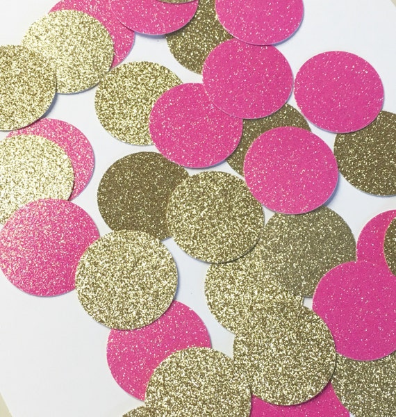 Hot pink+Gold confetti//confetti, table decorations, party decorations, baby shower, wedding shower, bridal shower, party, bachelorette,