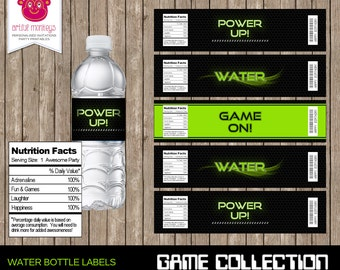 Instant Download Video Game Party Water Bottle Labels