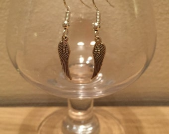 Sterling silver ear hooks with angel wings