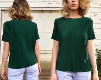 Vintage Dark Emerald Green Shiny Accordion Ribbed Short Sleeve Summer Blouse Top S