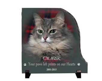 Cat memorial plaque, personalized cat photo slate, custom cat memorial gifts, Pet memorial, cat remembrance