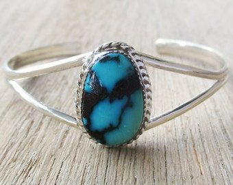 Stunning Chinese Turquoise Sterling Silver Bracelet size 5-3/4