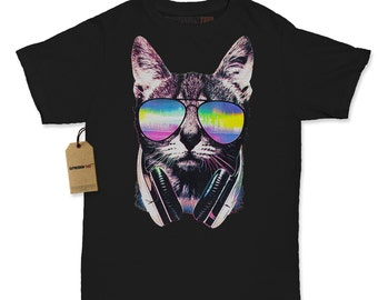 Women's Dj Kitty Cat Shirt Printed Rave Cat Headphones T-shirt #8016 By Expression Tees Trending Clothing / Apparel Usa Seller