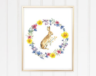 Floral Easter Bunny Digital Print - 11x14 inch - instant download