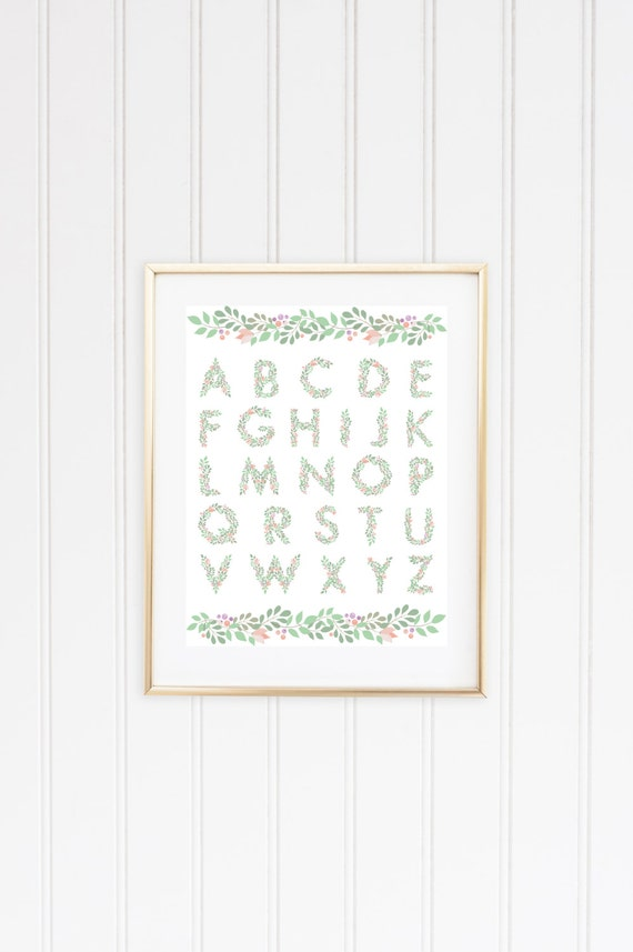 Floral Alphabet / ABC print - Nursery art