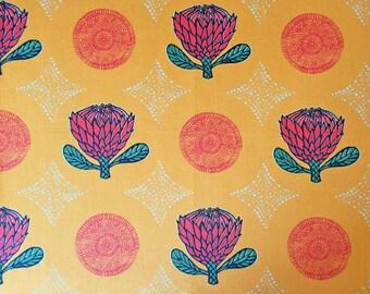Orange Protea Flower cotton half panama fabric by the metre